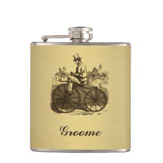Golden look wedding classy old bike personalized hip flask