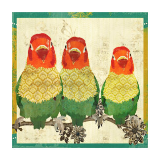 Golden Love Birds  Vintage  Canvas Gallery Wrapped Canvas