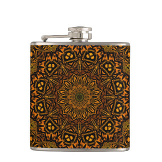 Golden Mandala Hip Flask