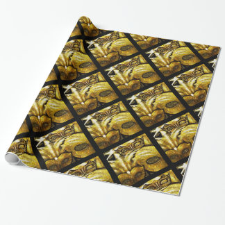 Golden Mardi Gras Masks Wrapping Paper