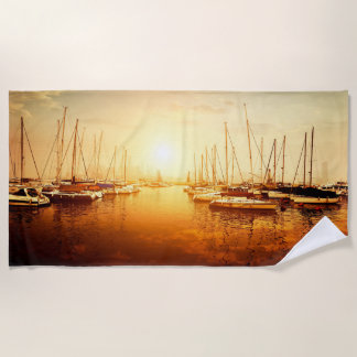 Golden Marina Sunset Beach Towel