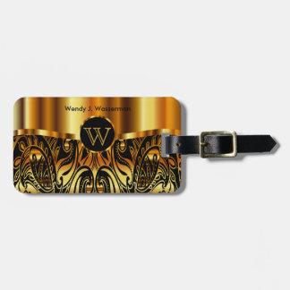 Golden Metallic Paisley Abstract Bag Tag