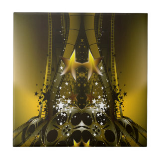 Golden Movie Reels And A Gazillion Stars Tile