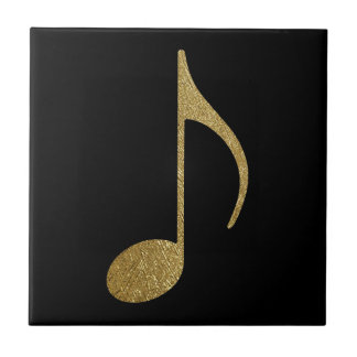 golden musical note small square tile