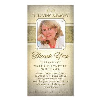 Golden Notes Musical Memorial Thank You Card Photo Card Template