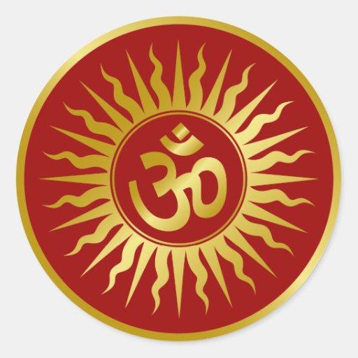 Golden Om Round Sticker