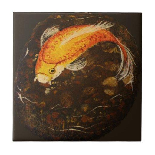 Golden Orange Koi Fish Ceramic Tiles