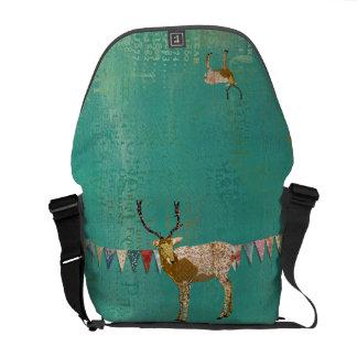 Golden Ornate Deer Messenger Bag