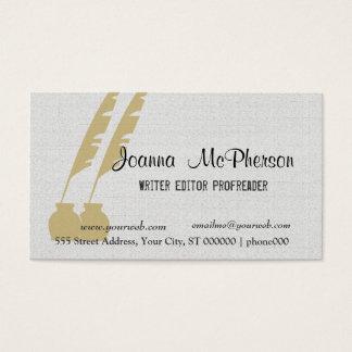 Golden Pen Elegant Writer Editor Journalist Business Card