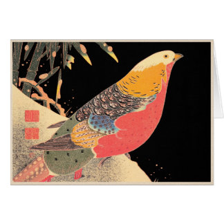 Golden Pheasant in the Snow Itô Jakuchû bird art Card