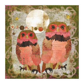 Golden Pink Gypsy Owls Olive Moonlight Canvas Gallery Wrapped Canvas