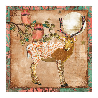 Golden Pink Gypsy Owls & Ornate Buck Moonlight Can Gallery Wrap Canvas