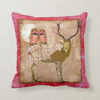 Golden Pink Gypsy Owls & Ornate Buck Moonlight  Mo Throw Pillow