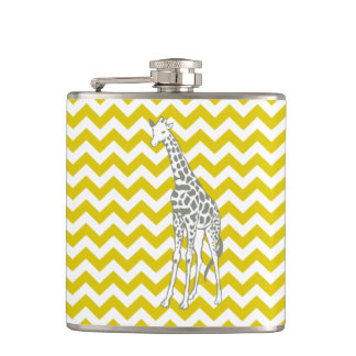 Golden Poppy Safari Chevron with Pop Art Giraffe Hip Flask