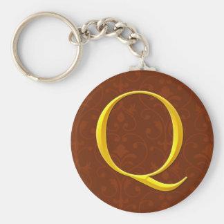 Golden Q Monogram Keychain