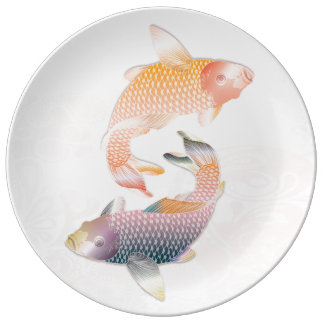 Golden & Rainbow Koi Fish on Pink Waters Porcelain Plates