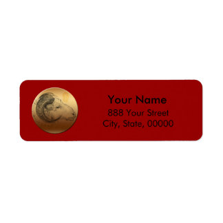 Golden Ram - Chinese New Year of the Sheep 2015 Return Address Label