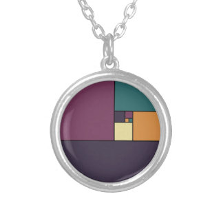 Golden Ratio Squares Silver Plated Necklace