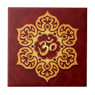 Golden Red Lotus Flower Om Small Square Tile