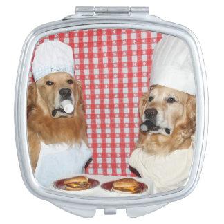 Golden Retriever Cheeseburger Chefs Vanity Mirror