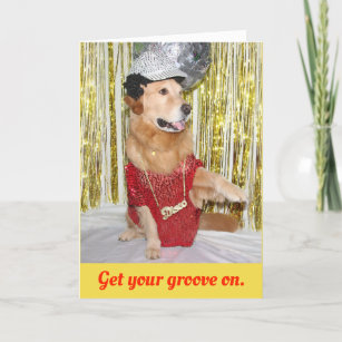 Golden Retriever Disco Birthday Card