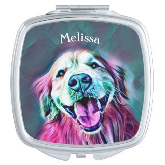 Golden Retriever Dog in Neon Colors Custom Mirror For Makeup