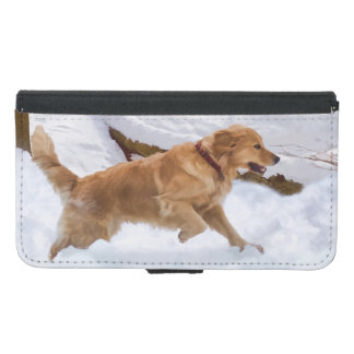 Golden Retriever Dog in the Snow Samsung Galaxy S5 Wallet Case