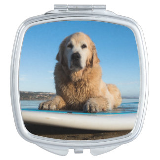 Golden Retriever Dog  Laying On A Paddle Board Travel Mirror