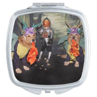 Golden Retriever Dragons Fighting a Knight Vanity Mirror
