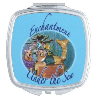 Golden Retriever Enchantment Under the Sea Mirror For Makeup