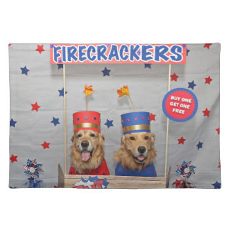 Golden Retriever Firecrackers For Sale Placemat