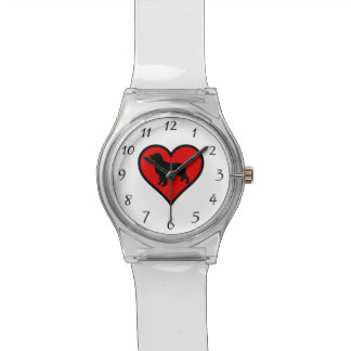 Golden Retriever Heart Love Dogs Silhouette Watch
