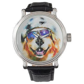 Golden Retriever in Hat and Sunglasses Watercolor Watch