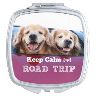 Golden Retriever Keep Calm and Road Trip Mirror For Makeup