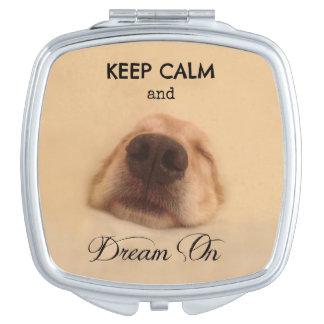Golden Retriever Keep Calm Dream On Makeup Mirror