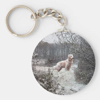 Golden Retriever Keychain In Snow