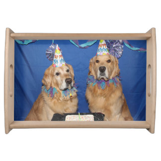 Golden Retriever Lighting the Birthday Candles Serving Tray