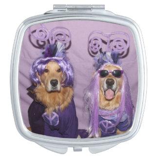 Golden Retriever Purple Peaceful Pups Makeup Mirror