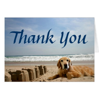 Golden Retriever Thank You Card Sandcastles