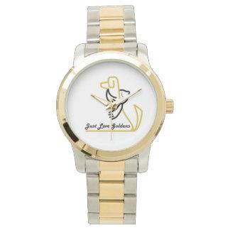 Golden Retriever Two Tone Watch, Just Love Goldens Watch