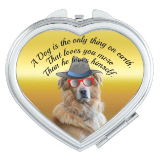 Golden retriever with a hat red glasses Dog Quote Travel Mirror