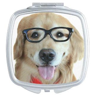 Golden Retriever With Nerd Glasses Vanity Mirror