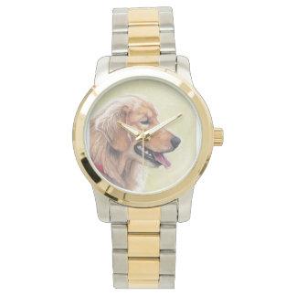 Golden Retrievr Profile Dog Art Watch