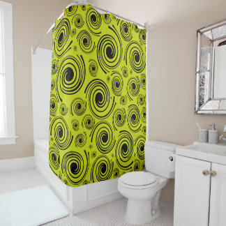 Golden Retro Shower Curtain