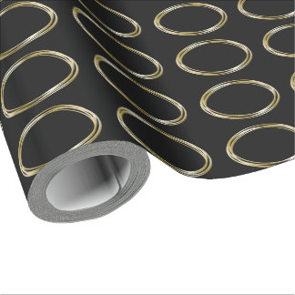 Golden Ring Set The Minimalist Black Gold LOGO Wrapping Paper