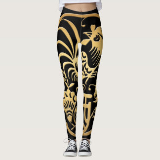 Golden Rooster Year 2017 Papercut Black leggings