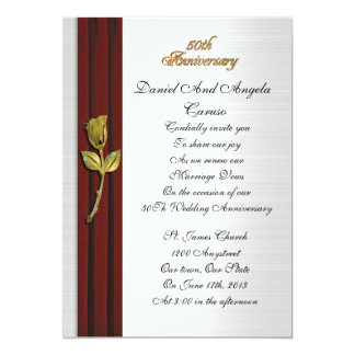 Golden rose, 50th Anniversary vow renewal Card