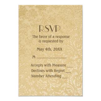 Golden Rose Damask 50th Anniversary RSVP 9 Cm X 13 Cm Invitation Card