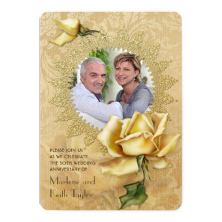 Golden Rose Damask 50th Wedding Anniversary Card