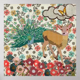 Golden Rose Deer & Peacock  Floral Poster